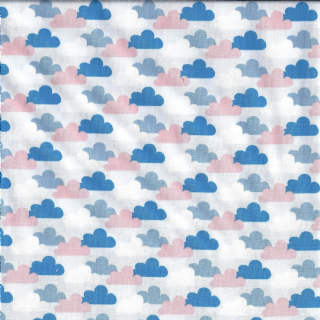 Fabric Freedom Vegetable Patch - 4619 - Clouds on Pale Blue; Pink, Blue, Bright Blue, White - FF110 3 - Cotton Fabric